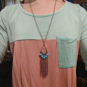 2/$13 Long silver and turquoise necklace
